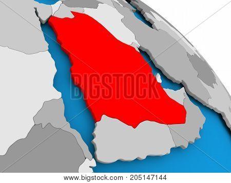 Saudi Arabia In Red On Map