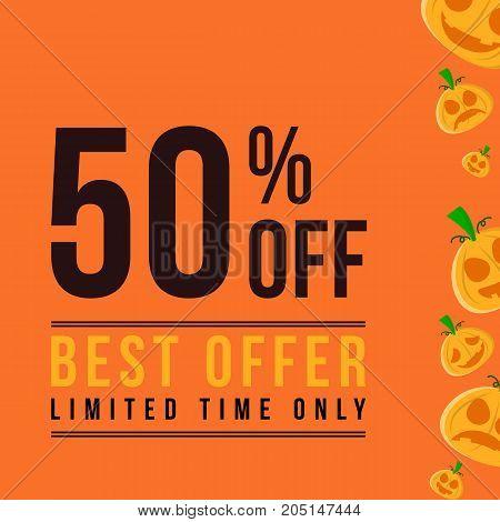 Halloween sale on orange background vector illustration