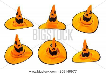 Halloween pumpkin face isolated on white path and cut out