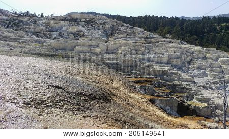 Mammoth Hot Springs Terrace and surrounding landscape.