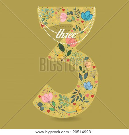 Yellow Number Three with Folk Floral Decor. Colorful watercolor flowers and plants. Small hearts. Graceful pearl necklace with text. Illustration