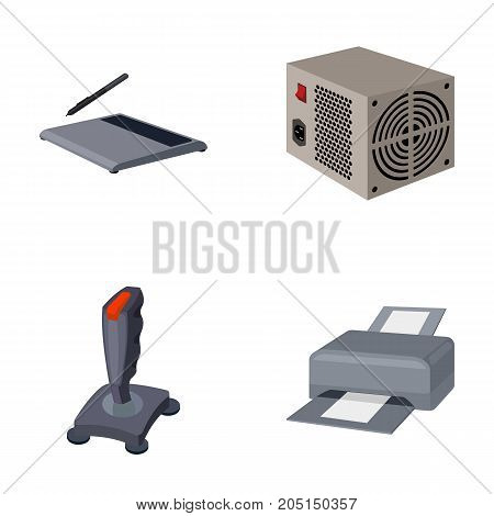 Power unit, dzhostik and other equipment. Personal computer set collection icons in cartoon style vector symbol stock illustration .