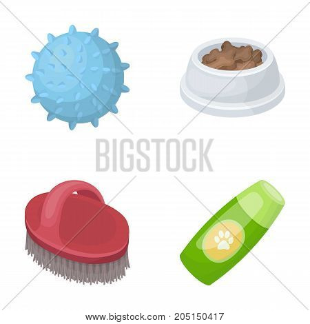 The ball, feed, shampoo and other zoo store products. Pet shop set collection icons in cartoon style vector symbol stock illustration web.