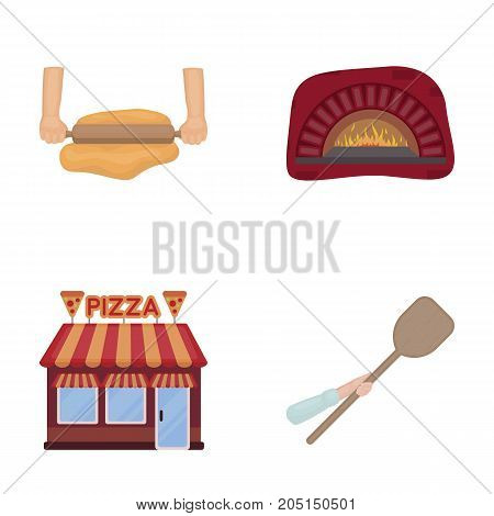 Pizza dough, oven, pizzeria building, spatula for billets. Pizza and pizzeria set collection icons in cartoon style vector symbol stock illustration web.