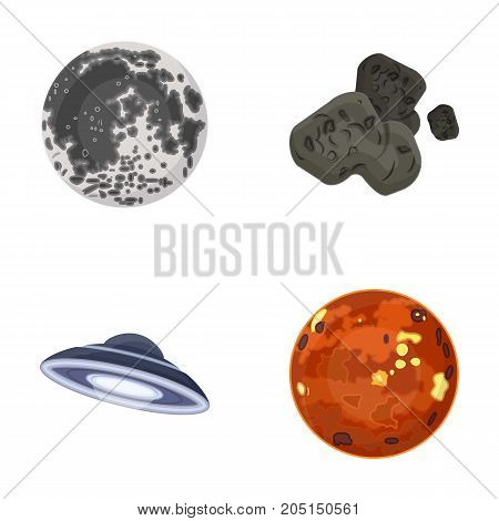Moon, Venus of the planet of the solar system. Nil, a meteorite. Planets set collection icons in cartoon style vector symbol stock illustration .
