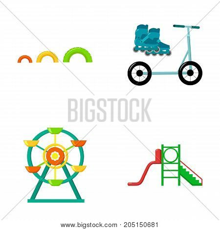 Ferris wheel with ladder, scooter. Playground set collection icons in cartoon style vector symbol stock illustration .