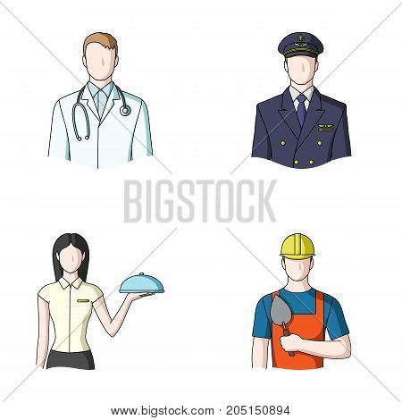 The doctor, the pilot, the waitress, the builder, the mason.Profession set collection icons in cartoon style vector symbol stock illustration .