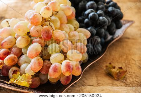 Two Type Of Fresh Ripe Grapes Blue And Green On A Vintage Old Tray. Close Up.