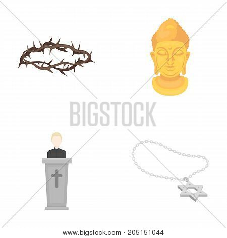A crown of thorns, a star of David, a priest, a buddha's head. Religion set collection icons in cartoon style vector symbol stock illustration .