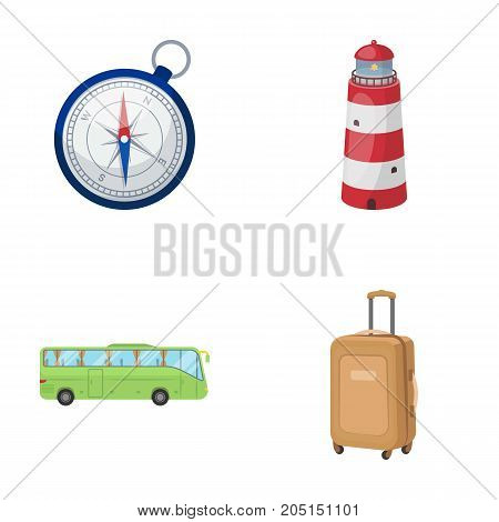 Vacation, travel, lighthouse, compass .Rest and travel set collection icons in cartoon style vector symbol stock illustration .