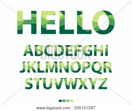 Vector of stylized uppercase green and yellow font. Colorful alphabet on white background.