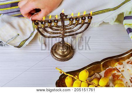 Brightly Glowing Hanukkah Menorah - Shallow Depth Of Field