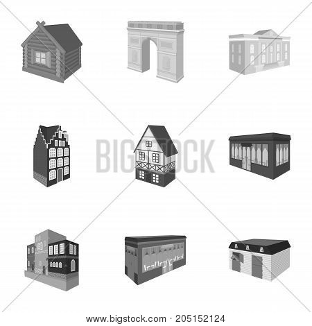 Municipality building, bank office building, stable, wooden hut, bridge and other architectural structures. Architecture and facilities set collection icons in monochrome style vector symbol stock illustration .