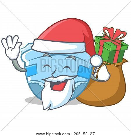 Santa with gift baby diaper character cartoon vector illustration
