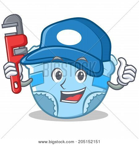 Plumber baby diaper character cartoon vector illustration