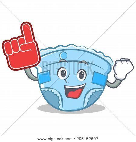 Foam finger baby diaper character cartoon vector illustration