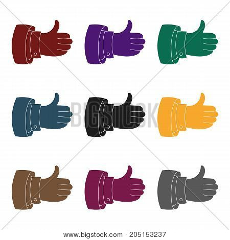 Thumb up icon in black design isolated on white background. Conference and negetiations symbol stock vector illustration.