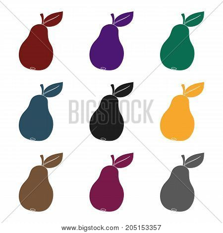 Pear with a leaf. Fruit of labor of a garden worker.Farm and gardening single icon in black style vector symbol stock web illustration.