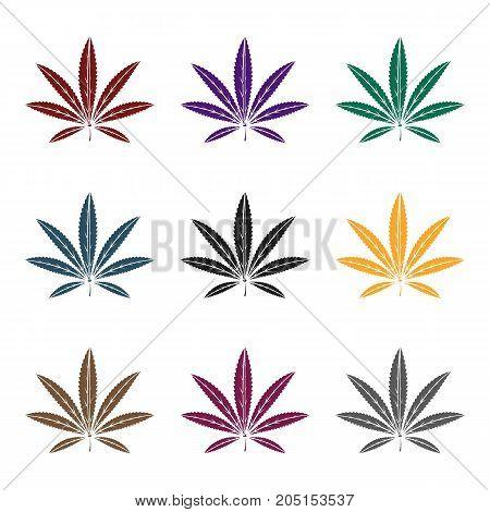 Green leaf of hemp.Hippy single icon in black style vector symbol stock illustration .