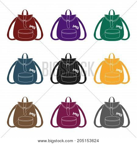 Green hippy backpack.Hippy single icon in black style vector symbol stock illustration .