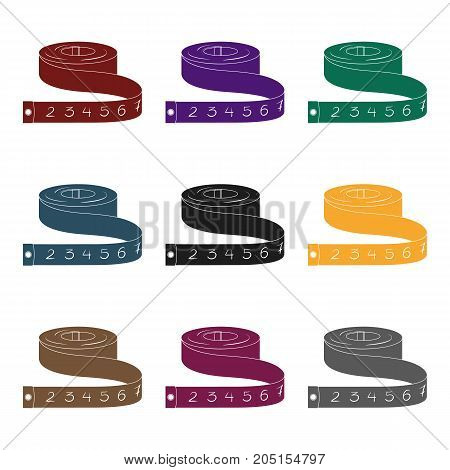 Red Roulette Seamstresses.Sewing or tailoring tools kit single icon in black style vector symbol stock web illustration.