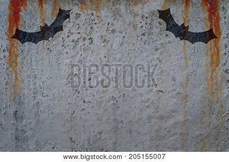 Bloody wall with bat silhouettes. Copy space for text. Halloween poster concept and greeting card template.