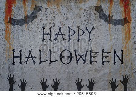 Inscription HAPPY HALLOWEEN on bloody wall with bat and corpse hand silhouettes. Zombie poster concept and greeting card template.