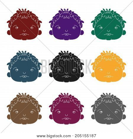 Cavechild face icon in black style isolated on white background. Stone age symbol vector illustration.