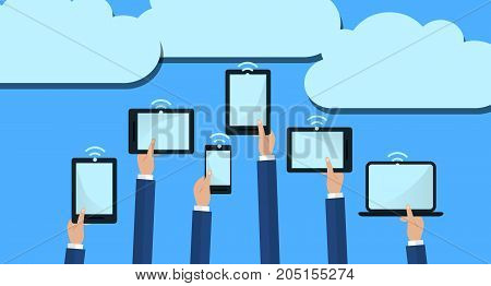 Hands Holding Computer Devices Connect to Modern Cloud Services. Flat Illustration.