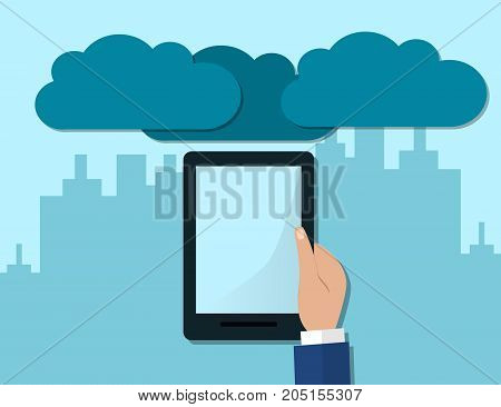 Hand Holding Computer Devices Connect to Modern Cloud Services. Flat Illustration.