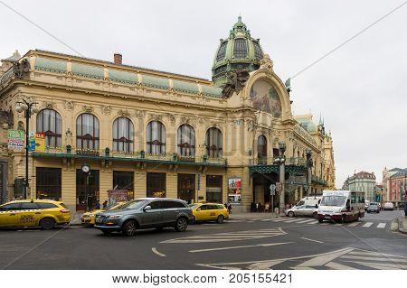 PRAGUE CZECH REPUBLIC - FEBRUARY 03 2014: Municipal House (Smetana Hall) built in 1912. Art Nouveau building. On the facade mosaic handmade by Karel Spillar