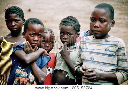 MANGUE, ANGOLA - May 15, 2007: The village youth of Mangue.