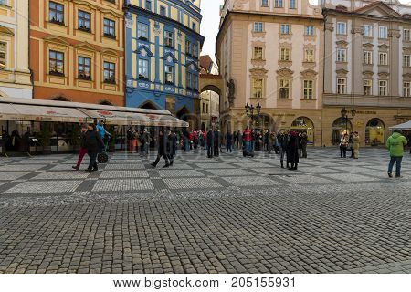 PRAGUE CZECH REPUBLIC - FEBRUARY 03 2014: Tourists on the Old Town Square in the heart of Old Town of the Prague.