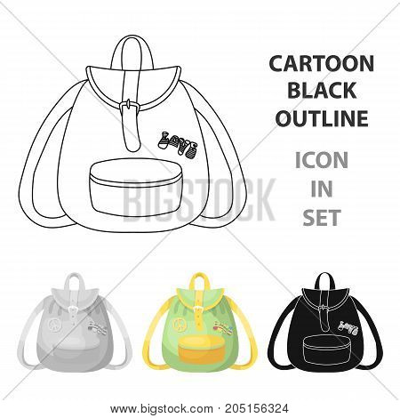 Green hippy backpack.Hippy single icon in cartoon style vector symbol stock illustration .