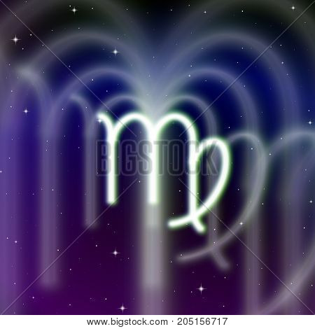 Astrology sign of Virgo or maiden with mystic aura