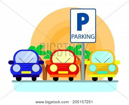 Parking concept with red green and blue Cars in flat style over sunset. Flat Illustration