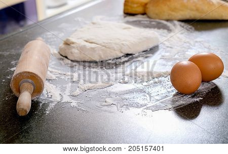 Dough preparation recipe bread pizza or pie ingredients pastry or bakery cooking. Text space