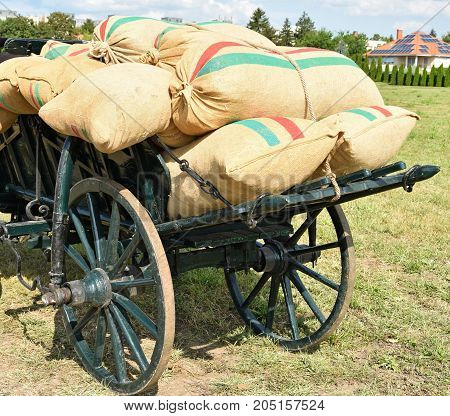 Sacks of flour on the carriage outdoor