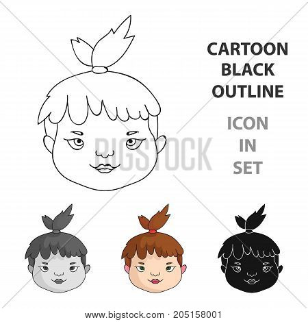 Cavechild face icon in cartoon style isolated on white background. Stone age symbol vector illustration.
