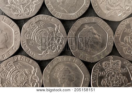 British 20 pence mosaic on grey background
