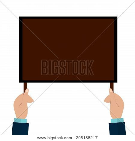 Hands Holding a Sign with empty space for your text. Flat Illustration