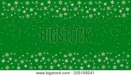 Christmass and New Year Freen Background with snowflakes. Flat Illustration