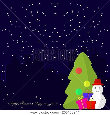 Merry Christmas and Happy New Year Greeting Card with Snowman Christmas Tree and Gifts. Flat Illustration