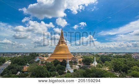 The Big Yellow Pagoda In Nakorn Pathom