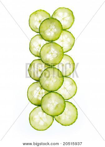Slices of cucumber isolated on white background