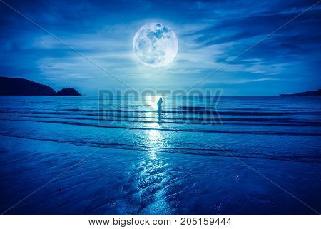 Super Moon. Colorful Blue Sky With Cloud And Bright Full Moon Over Seascape.