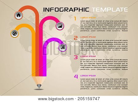 Modern Colorful Infographics Options Template Vector With Pencil And World Map.