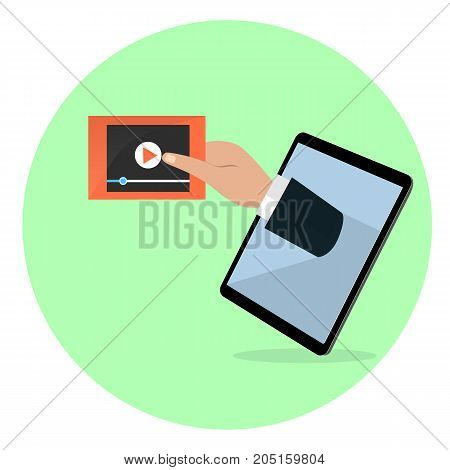 A human hand from the tablet's screen holds video player screen. Modern technology media video symbol flat vector illustration.