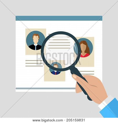 Concepts for Searching people employees candidates team members. Flat design illustration