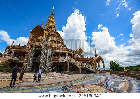Phetchabun Thailand - June 28 2015: Buddhist tourists sightseeing beautiful Buddhist church at Phasornkaew Buddhist temple in Phetchabun Thailand